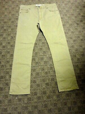 WRANGLER Beige Solid Cotton Casual Flat Front Chino Khaki Pants Size 36 HH1403