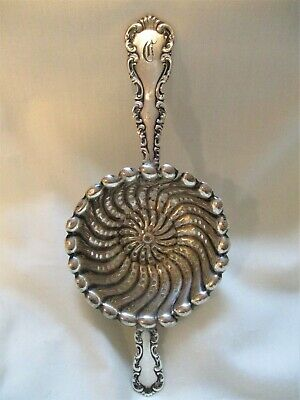 ANTIQUE, STERLING SILVER Tea Strainer, WHITING, LOUIS XV Pattern, Lovely !