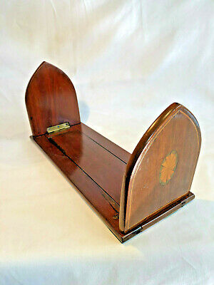 Antique Inlaid Mahogany Extendable Book Rack
