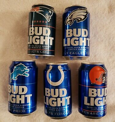 2019 NFL Bud Light Beer Can - 5 Teams Available, Your Choice - Bottom Opened