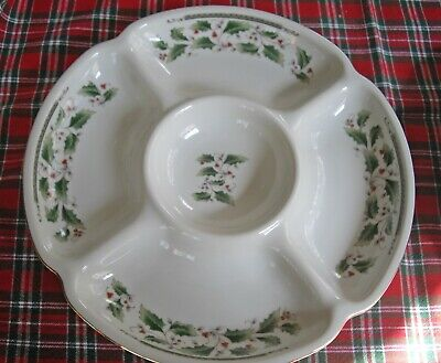 """Royal Holly Holiday Christmas White w/ Red Holly Berries 10 1/2"""" Divided Bowl"""