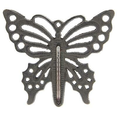 Rustic Butterfly Cast Iron Ornate Indoor Outdoor Garden Wall Thermometer 17cm