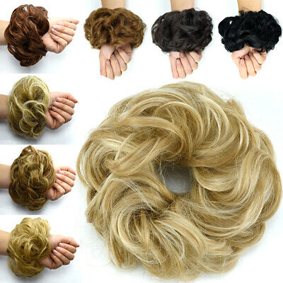 Real Thick Curly Messy Bun Hair Piece Scrunchie 100% Natural Hair Extensions 55U