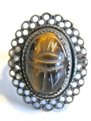 Vintage Tiger's Eye Egyptian Scarab Beetle Ring Beau Sterling Silver Adjsutable