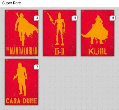 Topps Star Wars Card Trader Digital Lawless Lands The Mandalorian Red SET (4)