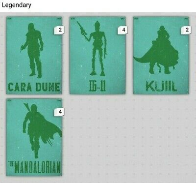 Topps Star Wars Card Trader Digital Lawless Lands The Mandalorian TEAL SET (4)