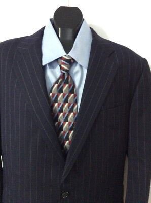 Hickey Freeman Mens Navy Pinstripe 2pc Wool Suit Sz 42R                       2A