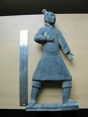 Vintage Chinese Black Terracotta Clay Standing Archer Warrior Figure Large 15""