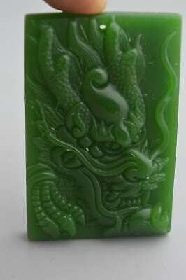 Collectable Chinese Handwork Green jade Carve Mythology Dragon Fashion Pendant