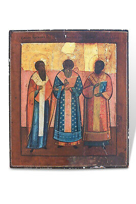 19th Century Painted Gilt Russian Icon; Three Holy Hierarchs, Orthodox