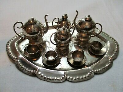 Antique, MINIATURE, STERLING SILVER, 13pc., Tea Set. ABSOLUTELY ADORABLE!