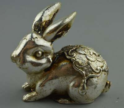 Handwork Collection Decor Old Miao Silver Carve Lovely Rabbit Auspicious Statue