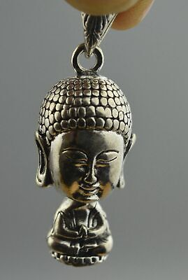 Handwork Collectable old Miao Silver Carve Buddha Head Temple Pray Noble Pendant