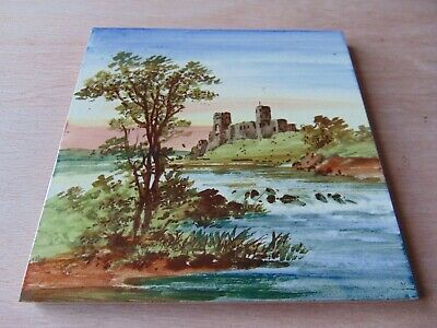 19th century ARCHITECTURAL ANTIQUE MAW TILE 6 INCH HAND PAINTED SCENE