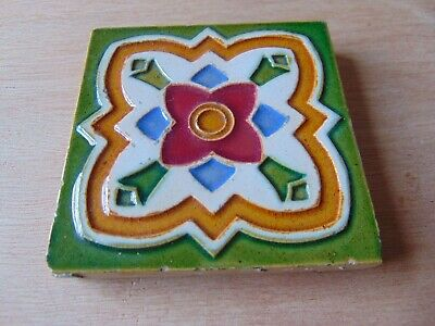ARCHITECTURAL ANTIQUE 19th CENTURY MAW TILE 3 INCH COLOURFUL