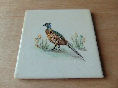 Architectural Antique Maw Tile 4.25 Inch Painted Pheasant Bird