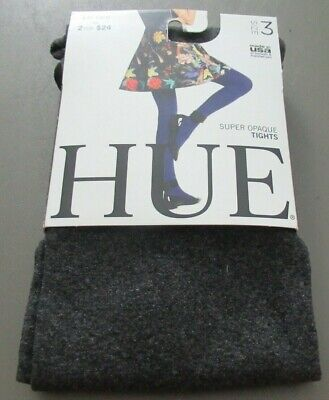 HUE Women's Super Opaque Tights, Graphite Heather Gray, Size 3