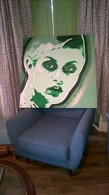 HUGE POP ART MOD CANVAS HAND PAINTED RETRO 60's PAINTING TWIGGY IN GREENS