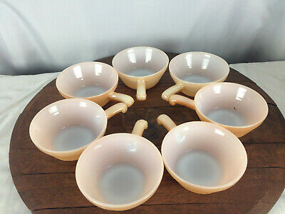 7 Vtg Fire King Oven Ware Soup Chili Bowls w/ Handle Beehive Peach Luster #WH-1