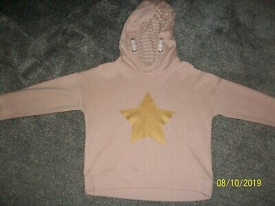 NEXT Girls Pale Pink Hooded / Hoodie Jumper with Gold Star age 9 years