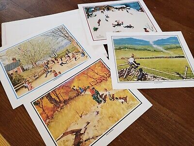SET OF 8 VINTAGE 8 BY 10 NORMAN ROCKWELL  PRINTS SEASONS & Grandpa and me