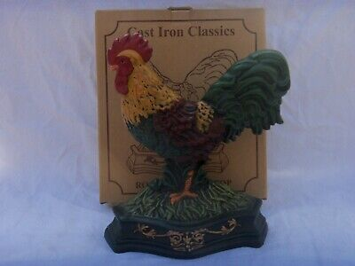 Older Cast Iron Rooster Door Stop 12 X 10 Inches  New In Box