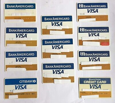 Lot 11 VINTAGE Visa BankAmericard BofA bank credit cards expired 1970s 1980s NR!