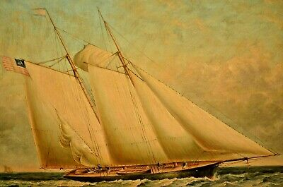 CLARK Original Sail Ship American Schooner Clipper Boat Seascape Oil Painting