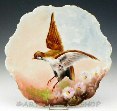 Antique Limoges France HANDPAINTED GAME BIRD PLATE WALL CHARGER Artist Signed