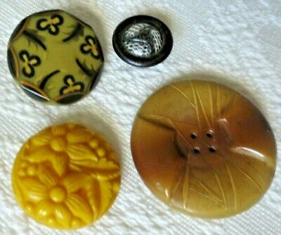 Vintage Antique Buttons 4 Unique Celluloid / Tight Top / Bubble / Art Deco  +