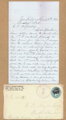 1880 LETTER ~ IRON RIDGE WI to S TRENTON NY ~ Lung Disease ~ Family News