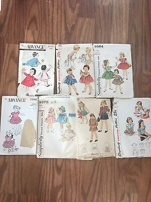 ALL Toddler Sz 2 1940's 50's Lot 7 Childs VTg Simplicity Advnce Sewing Patterns