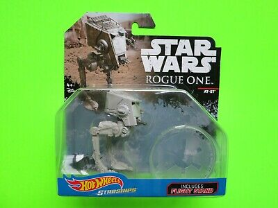 """2016 Hot Wheels STAR WARS Rogue One StarShips """"AT-ST"""" Die Cast w/Flight Stand!"""