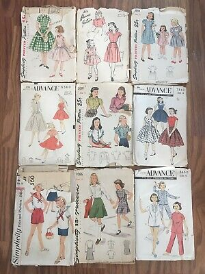 ALL Girls Sz 10 Vtg 1940's 50's Lot 9 Child's Simplicity Advance Sewing Patterns