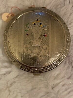 Vintage Compact for Face Powder Silver Tone Round Painted Flowers In Vase 2 1/8""