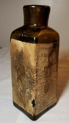 Rare Open Pontil Olive Amber & Labeled Brickett's Blacking Bottle New Ipswich Nh
