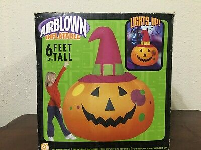 Gemmy Inflatable Halloween Pumpkin With Pink Hat 6 ft 2005 WB