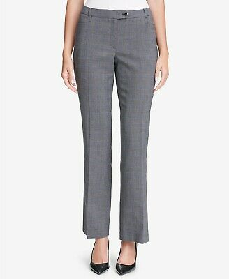 Womens Calvin Klein Gray Plaid Modern Fit Office Dress Pants Trousers NEW SIZE 8