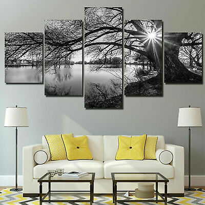 5 Panels Unframed Modern Tree Art Wall Hanging Picture Canvas Home Kitchen Decor