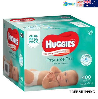 HUGGIES Fragrance Free Baby Wipes Alcohol Free, 400 Wipes Refill Pack