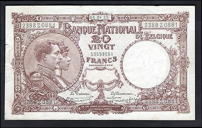 Belgium: National Bank. 20 francs. 06.04.25. 2388Z0881. (Pick 94). VF.