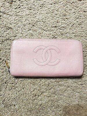 CHANEL CC Logo Zippy Coco Grainy Leather Long Wallet Clutch Holder Organizer