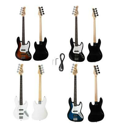 Glarry Bass Electric  Guitar + Cord + Tool Black Sunset White Dark Blue