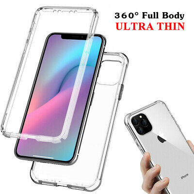 360° Clear Case For iPhone 11 Pro Max XR X XS Soft Gel Cover Silicone Shockproof
