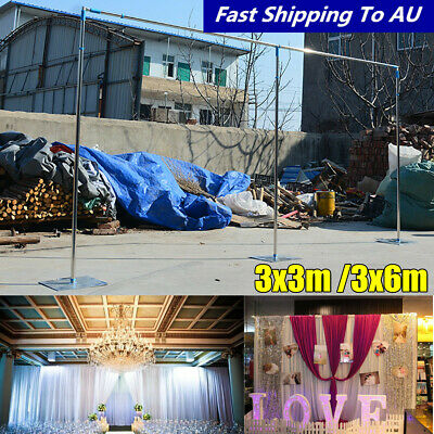 6x3M Wedding Party Stainless Backdrop Stand Stage Telescopic Pipe Pole and Base