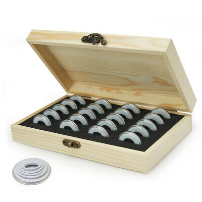 20pcs Commemorative Wooden Coin Storage Box Collectible Case Holder Container