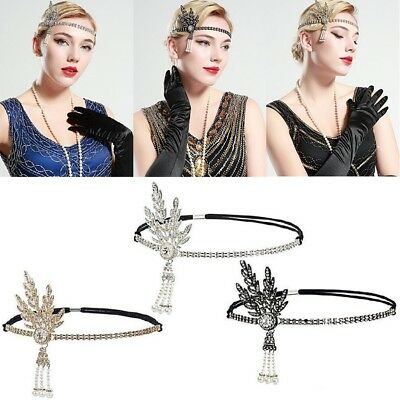 1920s Flapper Great Gatsby Headband Charleston Pearl Party Bridal Lady Headpiece