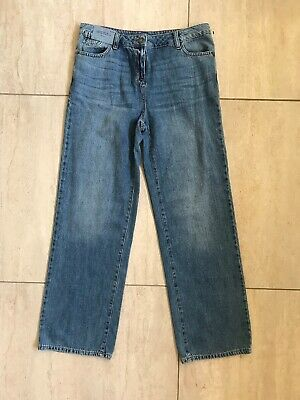 BNWT Womens Next Cropped Wide Leg Jeans Size 10R Blue Navy Cotton Denim Mid Rise