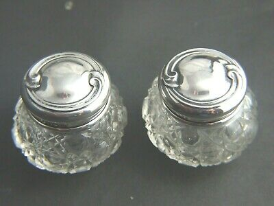 Antique Sterling Silver H/marked Birmingham 1912 Pr. Crystal  Small Containers