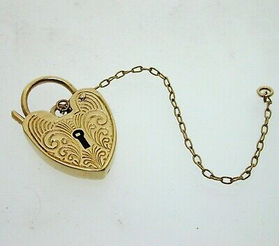 Vintage 1975 9ct Yellow Gold Patterned Heart Padlock Clasp & Safety Chain 2.9g